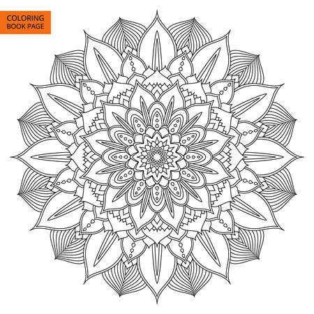 ethnics: Black Mandala for coloring book. Line mandala isolated on white background. Outline mandala for coloring page. Intricate mandala design. Illustration