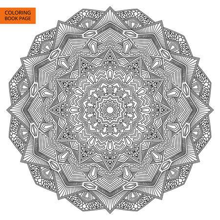 ぬりえの概要曼荼羅花。複雑な黒マンダラ。