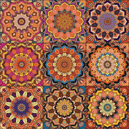 elaborate: Orange Square Tile Boho Pattern. Elaborate patchwork from mandala ornament