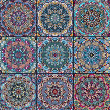 elaborate: Dark Blue Square Tile Boho Pattern. Elaborate patchwork from mandala ornament