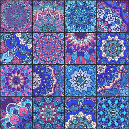 Boho tile set and seamless pattern. Blue pink patchwork fabric, furniture print, wallpaper, fashionable textile. Square design elements. Unusual flower ornament. Vector oriental mandala background.