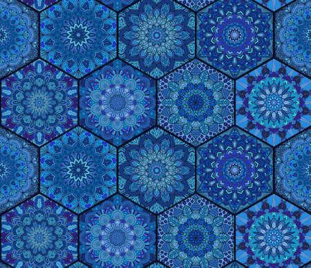 Blue Tiles. Boho Pattern. Hexagon mandala background. Abstract flower ornament