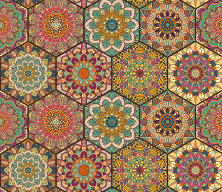 Colorful tiles boho pattern. Hexagon mandala background. Abstract flower ornament.