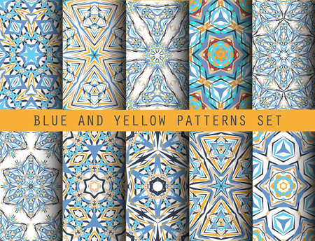 nineties: Blue Yellow Kaleidoscopic seamless Patterns Set. Geometric floral backgrounds for wallpaper, floor, ceramic tiles, furniture textile, fabric print. decorative ornaments collection Illustration