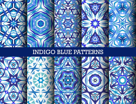 shattered glass: Indigo Blue Kaleidoscopic seamless Patterns Set. Geometric floral backgrounds for wallpaper, floor, ceramic tiles, furniture textile, fabric print. decorative ornaments collection