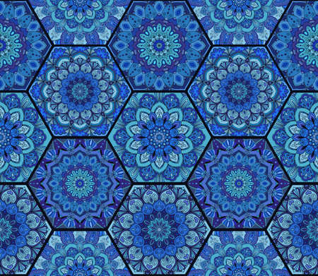 honey comb: Blue Pattern. Hex boho seamless flower ornament from floral design elements. Honey comb tiles background. Intricate hexagon wallpaper, gift paper, fabric print, textile, furniture.