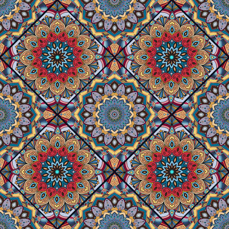 Boho Flower Seamless Pattern Mandala Patchwork Floral Elements Oriental Hippie Design Unusual