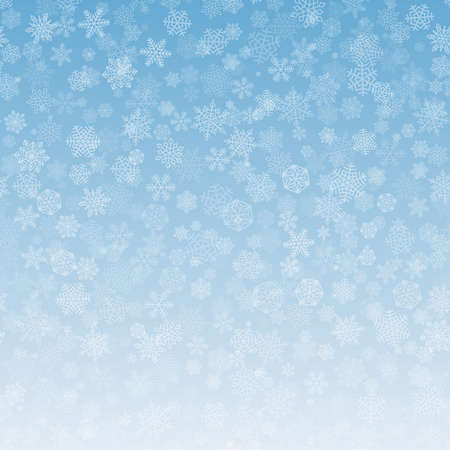 Snowflakes Background Pattern. White falling snow on blue gradient. Christmas ornament for sales , New Year card. Copy space at the bottom for text. Winter sky backdrop.