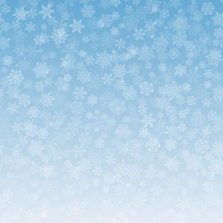 Patrón de fondo de copos de nieve. Blanca caída de nieve en azul degradado. Ornamento de Navidad para las ventas, tarjeta de año nuevo. Copie el espacio en la parte inferior para el texto. Fondo de cielo de invierno. Ilustración de vector