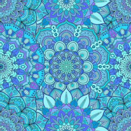 flower pattern. Seamless blue background. Floral ornament for fabric print, furniture, wallpaper, fashionable textile, greeting card. Unusual decoration. Luxury interior boho design element.