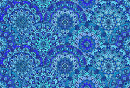 luxury interior: flower pattern. Seamless scales blue background. Floral ornament for fabric print, furniture, wallpaper, greeting card. Unusual sea waves decoration. Luxury interior boho design element. Illustration