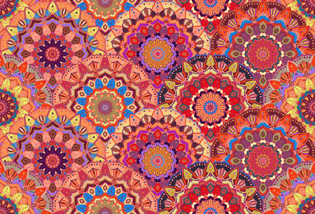 Scales pattern from flower mandalas.  floral background, seamless. Elaborate floral ornament for fabric print, furniture, wallpaper, greeting card. Unusual round design elements boho decoration. Ilustracja