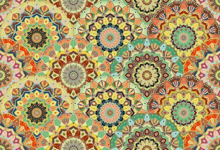 elaborate: Scales pattern from flower mandalas. floral background, seamless. Elaborate floral ornament for fabric print, furniture, wallpaper, greeting card. Unusual round design elements boho decoration. Illustration