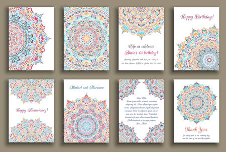 thank you note: cards set. Wedding invitation, birthday greeting, thank you note, anniversary, baby shower template. Colorful decorative background. Floral mandala. Flower design element.