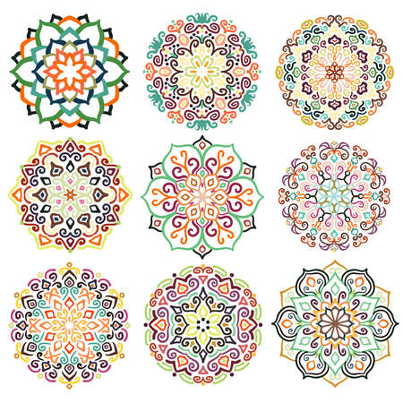 embellishments: Flower design. Decorative round ornaments. Colorful mandala set. Boho decoration. Unusual flourish embellishments. Oriental boho style. Isolated floral patterns. Illustration