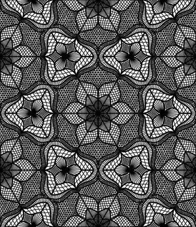 Lace pattern. Flourish . Seamless flower background. Intricate floral ornament. Black and white illustration. Decorative fabric print, furniture textile. Fine design. Elegant tulle element