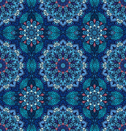 Blue pattern. Seamless flower background. Flourish vector. Intricate floral ornament. Dark color illustration. Decorative fabric print, furniture textile, wallpaper. Round mandala design elements.
