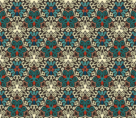intricate: Seamless pattern background. Colorful flourish . Intricate luxury ornament. Dark color illustration. Decorative fabric print, furniture textile, wallpaper, pillow. Interior design element