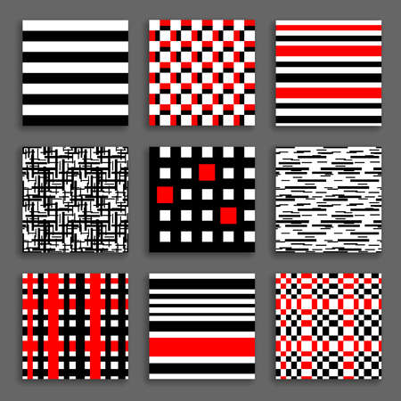 black white red: Striped and Chequered Patterns Set. Black white red geometric backgrounds collection. Bright graphic prints for fashionable fabric, wallpaper. Vector illustration.