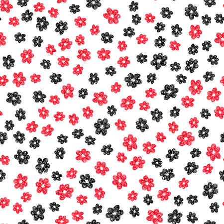 black white red: Hand Drawn Flower Pattern. Seamless black white red graphic print. Unusual floral illustration. Messy grunge style. Childish vector. Wallpaper, furniture textile, fashion fabric, curtain, gift paper.