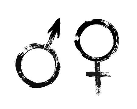 Male and Female Symbols. Feminine and masculine signs. Grunge painted style. Texture brush strokes. Unusual design elements. Vector black white illustration. Vettoriali