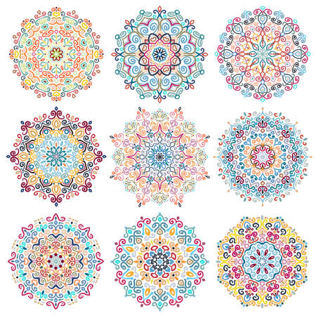 Mandala Vector Design Elements Colorful Blue