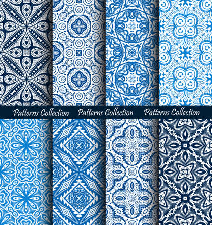 forged: Blue Backgrounds Floral Forged Patterns Set