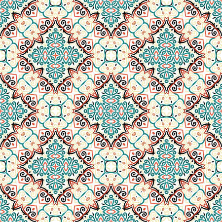 Floral Pattern Blue Brown Curve Elements