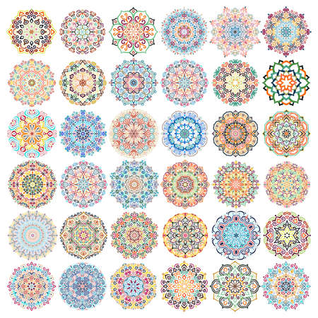 Vector Set Mandalas Design Elementen Stock Illustratie