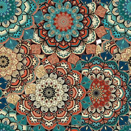 Flower Seamless Pattern. Brown blue background. Intricate vintage design. Stylized mandala elements. Boho decorative ornament. Complex interior fabric print, wallpaper, floor. Vector illustration.