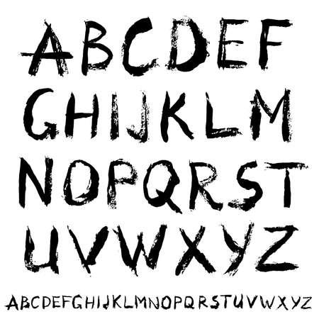 Painted Abc. Alternative letters. Bold grunge handwritten font. Sans serif alphabet. Distress texture. Brush strokes. Grungy splatter style. Paintbrush design upright symbols. Colorful vector. 版權商用圖片 - 73504631
