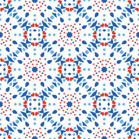 Blue Red Pattern Flower Tile Background