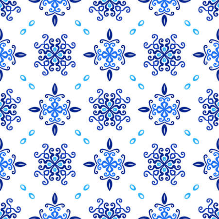 Blue Background Floral Curvy Pattern