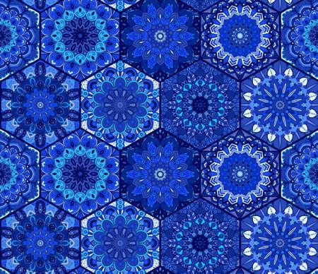 Blue Background Tiles Mandala Pattern Illustration