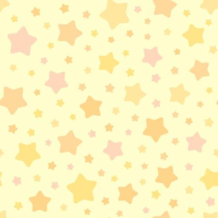 벡터 별 패턴입니다. 원활한 하늘 배경입니다. 파스텔 핑크 오렌지 옐로우 색상입니다. 어린이 침실 벽지, 베개, 가구, 섬유 인쇄, 잠옷 직물을위한 귀 일러스트