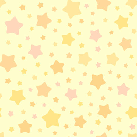 Vector Stars Pattern. Seamless sky background. Pastel pink orange yellow colors. Cute decorative ornament for childrens bedroom wallpaper, pillow, furniture, textile print, pyjamas fabric. Иллюстрация