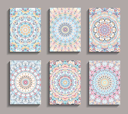 Vector Invitation cards set. Mandala design elements. Invite templates A6. Colorful round ornaments. Flower greetings, thank you notes. Weave floral pattern. Unusual yellow pink blue backgrounds.