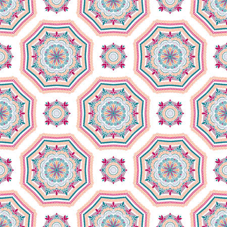 octagon: Seamless pattern background. Geometric floral decoration. Square repeat design elements. Blue pink vector illustration. Abstract flower wallpaper print, linen fabric. Classic textile graphic Illustration