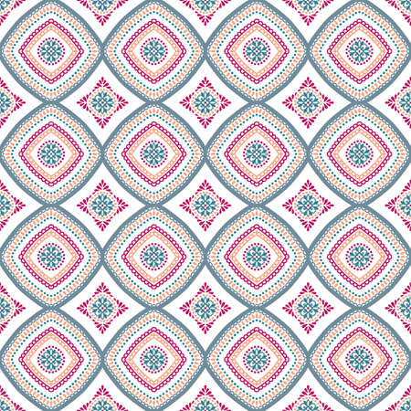 Seamless pattern background. Geometric floral decoration. Square repeat design elements. Blue pink vector illustration. Abstract flower wallpaper print, linen fabric. Classic textile graphic Illustration