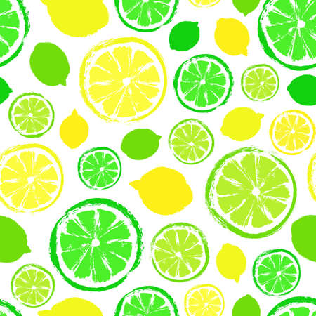 Lemons limes painted pattern. Illustration
