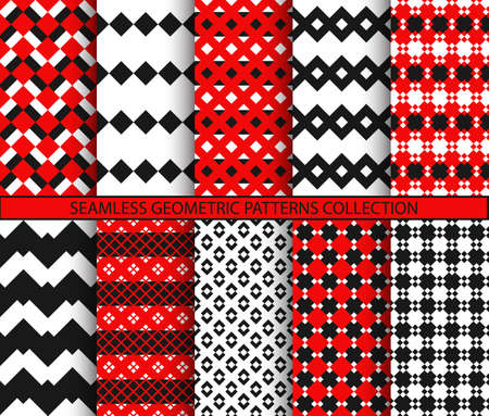 Seamless geometric patterns collection Vector Illustration