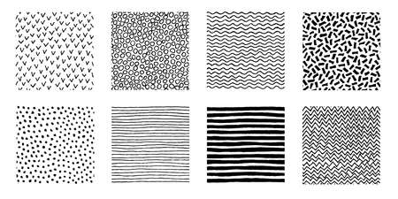 Kolekcja nieregularnych ręcznie rysowanych wzorów. Bezszwowe doodle tła. Graficzny nadruk w paski, kropki, fale, jodełkę. Ilustracja wektorowa chaotyczny.