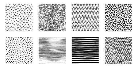 Unregelmäßige Hand gezeichnete Mustersammlung. Nahtlose Gekritzelhintergründe. Streifen-, Punkt-, Wellen-, Chevron-Grafikdruck. Chaotische vektorabbildung.