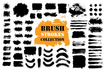 Brush strokes text boxes set illustration.