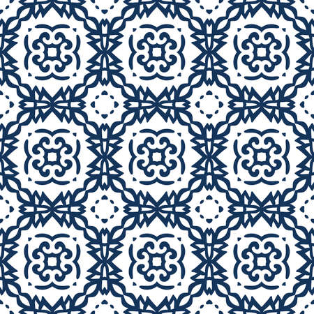 A Vector arabesque pattern seamless flourish background with dark blue forged elements, Intricate ornate lines, Square tile,  Symmetrical ornament Oriental illustration. 일러스트