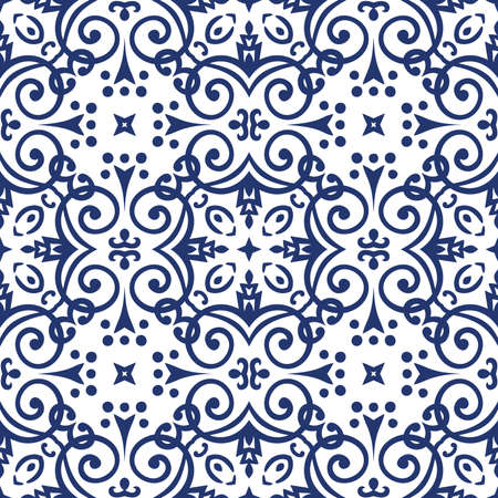 Seamless flourish background with dark blue floral elements. Intricate ornate lines. Arabic decorative design. Square tile. Symmetrical ornament. Oriental illustration. 일러스트