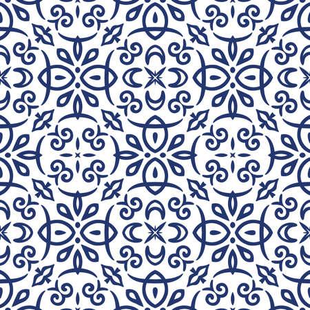 Vector arabesque pattern. Seamless flourish background with dark blue floral elements. Intricate ornate lines. Arabic decorative design. Square tile. Symmetrical ornament. Oriental illustration. 일러스트