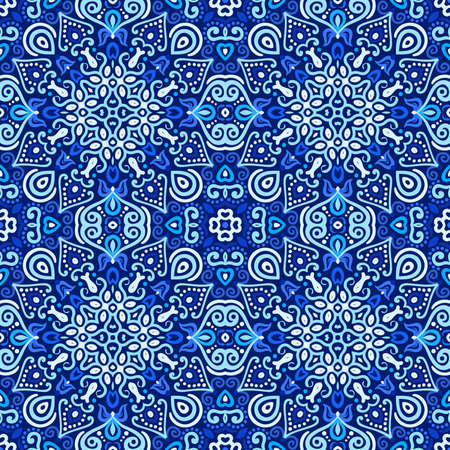 Vector arabesque pattern. Seamless flourish background with dark blue forged elements. Intricate ornate lines. Arabic decorative design. Square tile. Symmetrical ornament. Oriental illustration.