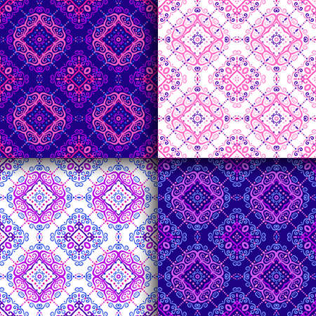 Vector arabesque patterns set. Seamless flourish backgrounds with abstract flowers and floral elements. Intricate ornate lines. Arabic decorative design. Square tile. Oriental symmetrical ornament. Illustration