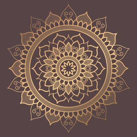 Mandala Vector Design Element on brown background.